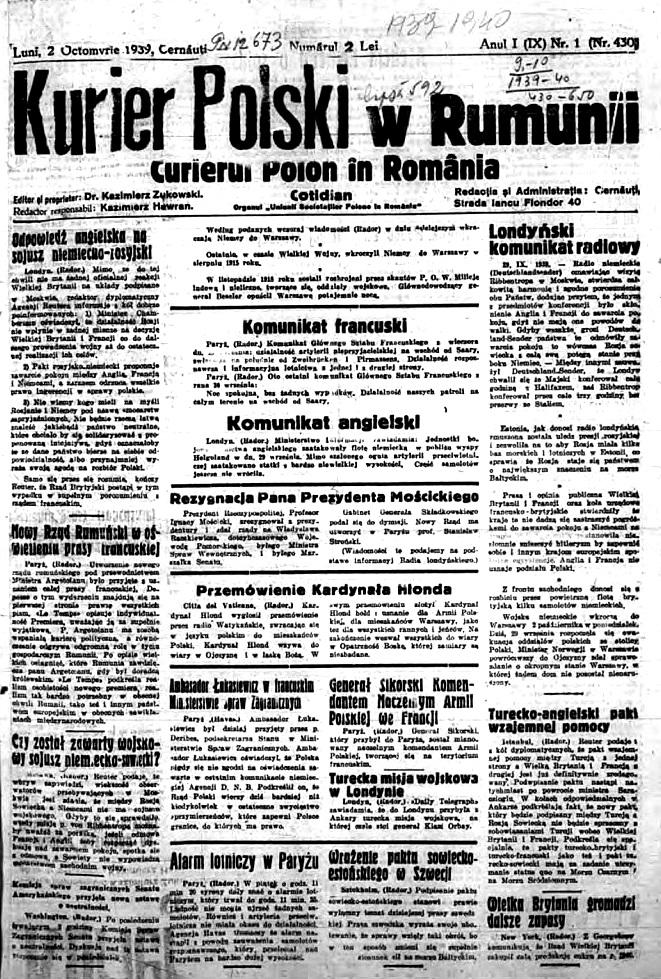 <div class='inner-box'><div class='close-desc'></div><span class='opis'>Pierwsza strona pierwszego numeru &quot;Kuriera Polskiego&quot; w Rumunii. Bukareszt 2 października 1939 r.</span><div class='clearfix'></div><span>Sygn. sm00304</span><div class='clearfix'></div><span>&copy; Instytut Literacki</span></div>