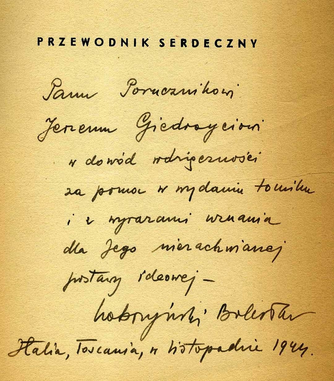 """<div class='inner-box'><div class='close-desc'></div><span class='opis'>Dedykacja Bolesława Kobrzyńskiego dla Jerzego Giedroycia. """"Przewodnik serdeczny"""", Rzym 1944.</span><div class='clearfix'></div><span>Sygn. dedyk033b</span><div class='clearfix'></div><span>© Instytut Literacki</span></div>"""