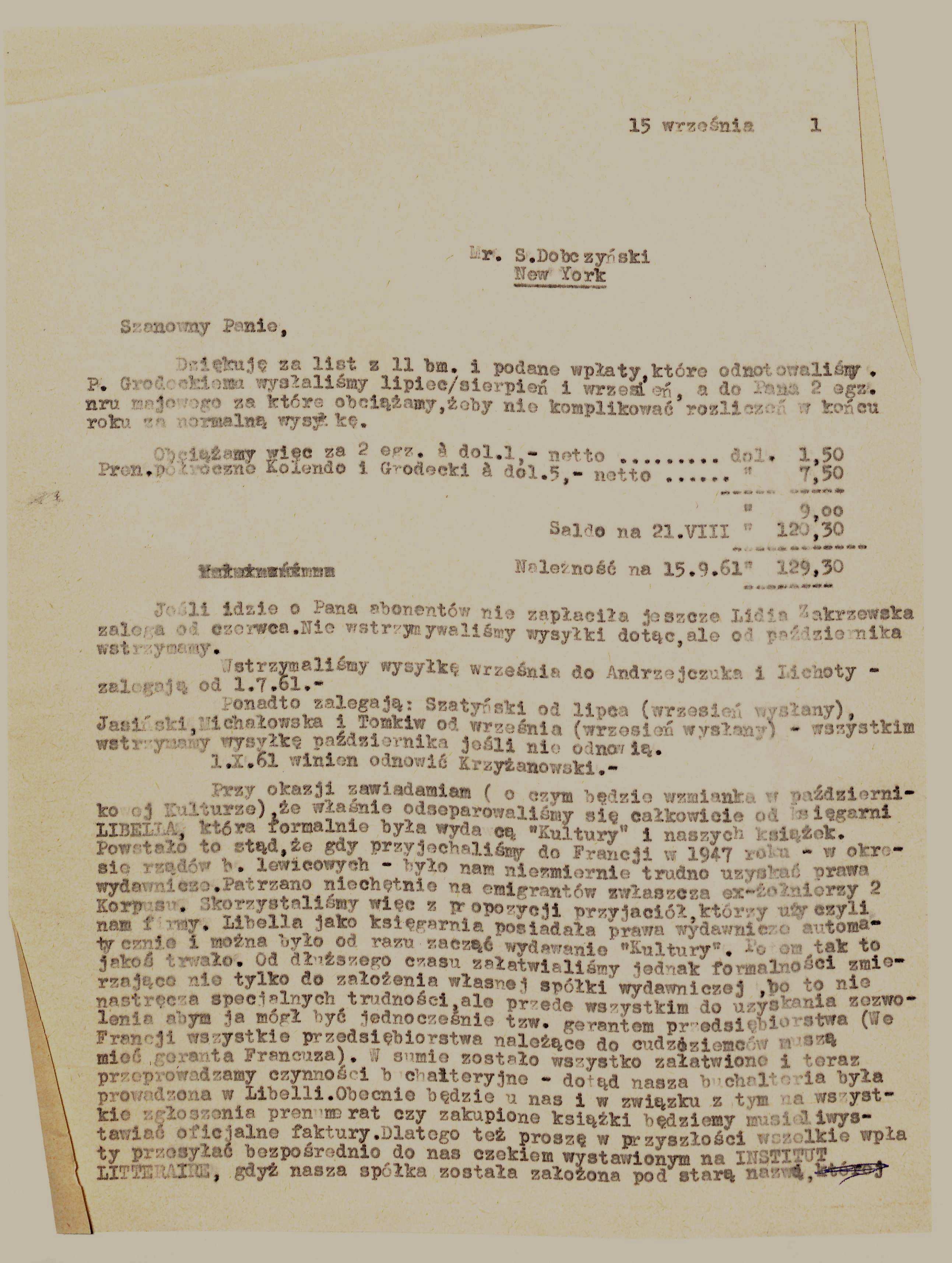 """<div class='inner-box'><div class='close-desc'></div><span class='opis'>List J. Giedroycia do S. Dobczyńskiego, przedstawiciela """"Kultury"""" w Nowym Jorku, informujący o założeniu SARL """"Institut Littéraire"""", 15 września 1961 r.</span><div class='clearfix'></div><span>Sygn. AB00063</span><div class='clearfix'></div><span>© Instytut Literacki</span></div>"""