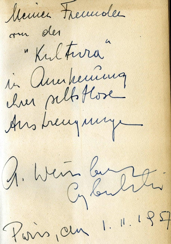 """<div class='inner-box'><div class='close-desc'></div><span class='opis'>Dedykacja Aleksandra Weissberga-Cybulskiego dla Jerzego Giedroycia. """"Die Geschichte von Joel Brandt"""". Berlin 1957.</span><div class='clearfix'></div><span>Sygn. dedyk034b</span><div class='clearfix'></div><span>© Instytut Literacki</span></div>"""