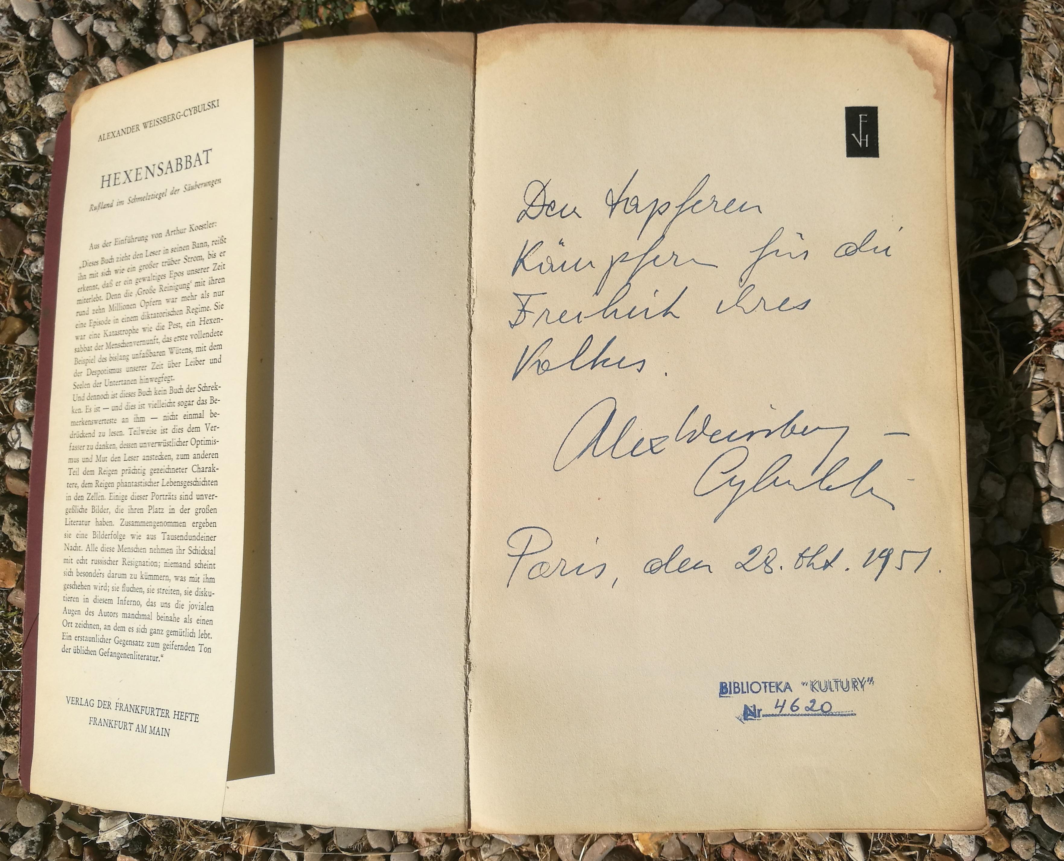 """<div class='inner-box'><div class='close-desc'></div><span class='opis'>Dedykacja Aleksandra Weissberga-Cybulskiego na pierwszym wydaniu """"Hexen-Sabbat"""". (1951)  Książka z polskim tytułem """"Wielka czystka""""- ukazała się nakładem IL w 1967 r.</span><div class='clearfix'></div><span>Cote du document sm00417</span><div class='clearfix'></div><span>© Instytut Literacki</span></div>"""