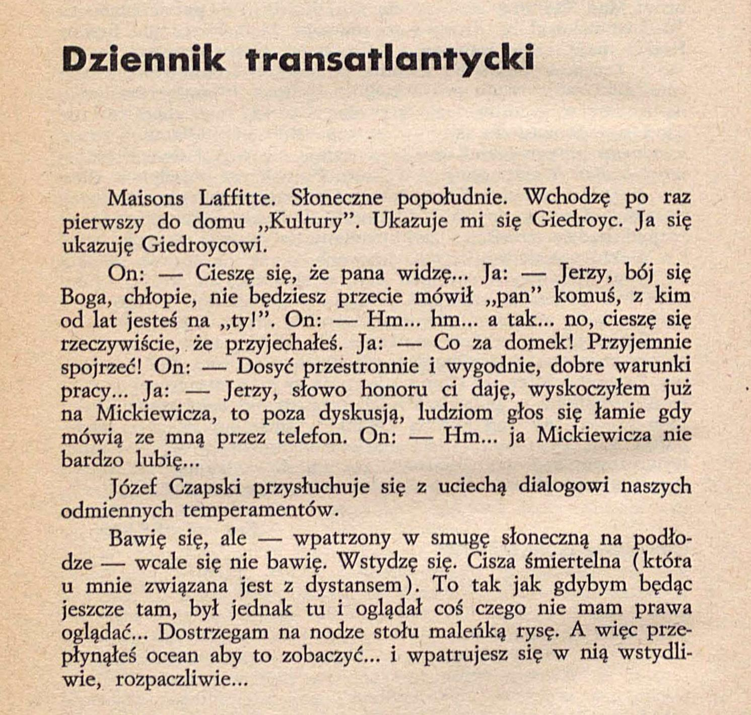 "<div class='inner-box'><div class='close-desc'></div><span class='opis'>Fragment ""Dziennika transatlantyckiego"" Witolda Gombrowicza. Pierwsze chwile w Maisons-Laffitte. ""Kultura"" nr 11/193, 1963 r., s. 24</span><div class='clearfix'></div><span>Sygn. sm00033</span><div class='clearfix'></div><span>© Instytut Literacki</span></div>"