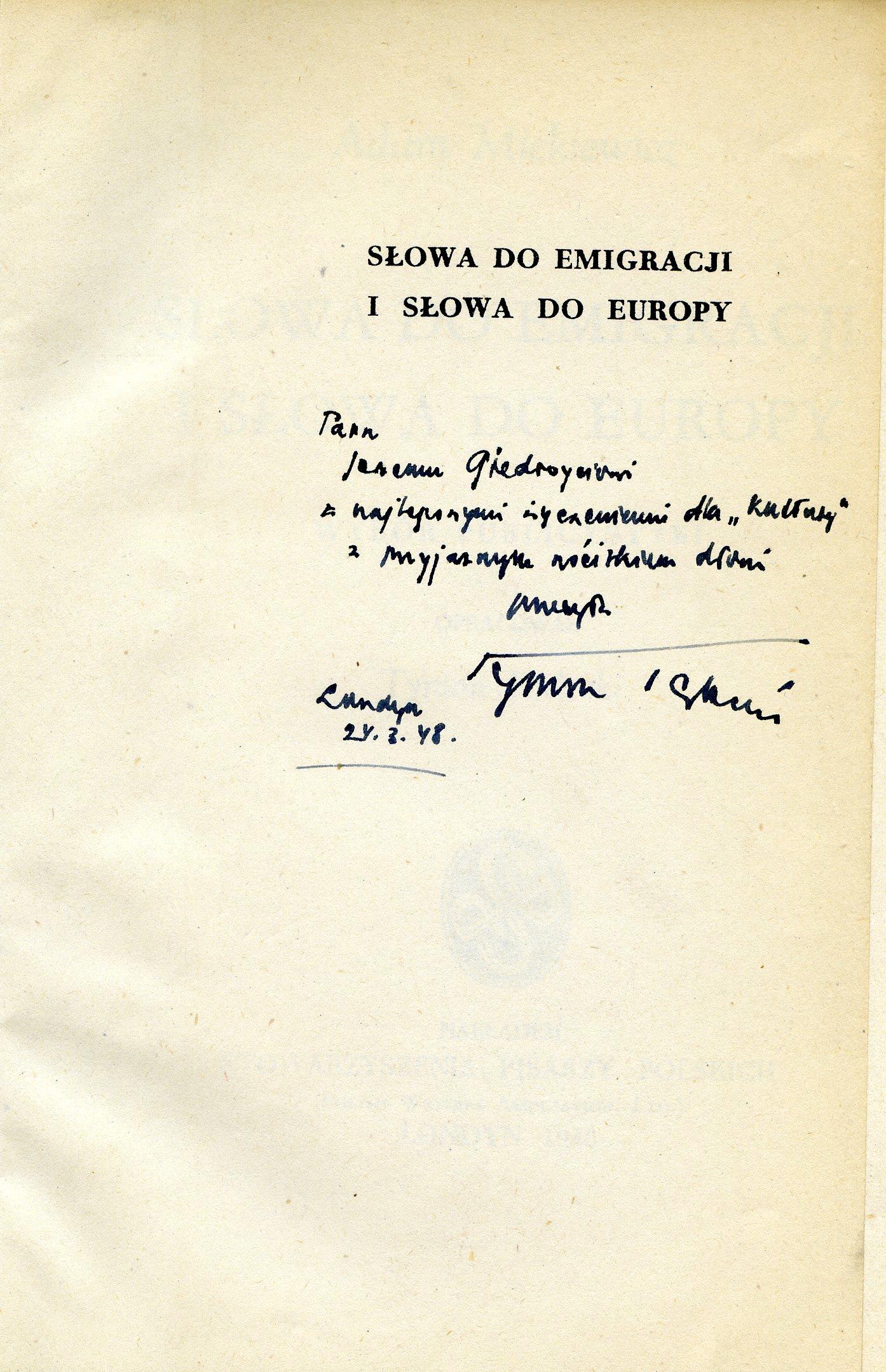 """<div class='inner-box'><div class='close-desc'></div><span class='opis'>Dedykacja: Tymon Terlecki dla Jerzego Giedroycia. Adam Mickiewicz """"Słowa do emigracji i słowa do Europy"""", opr. Tymon Terlecki, SPP, Londyn 1948.</span><div class='clearfix'></div><span>Cote du document dedyk049b</span><div class='clearfix'></div><span>© Instytut Literacki</span></div>"""