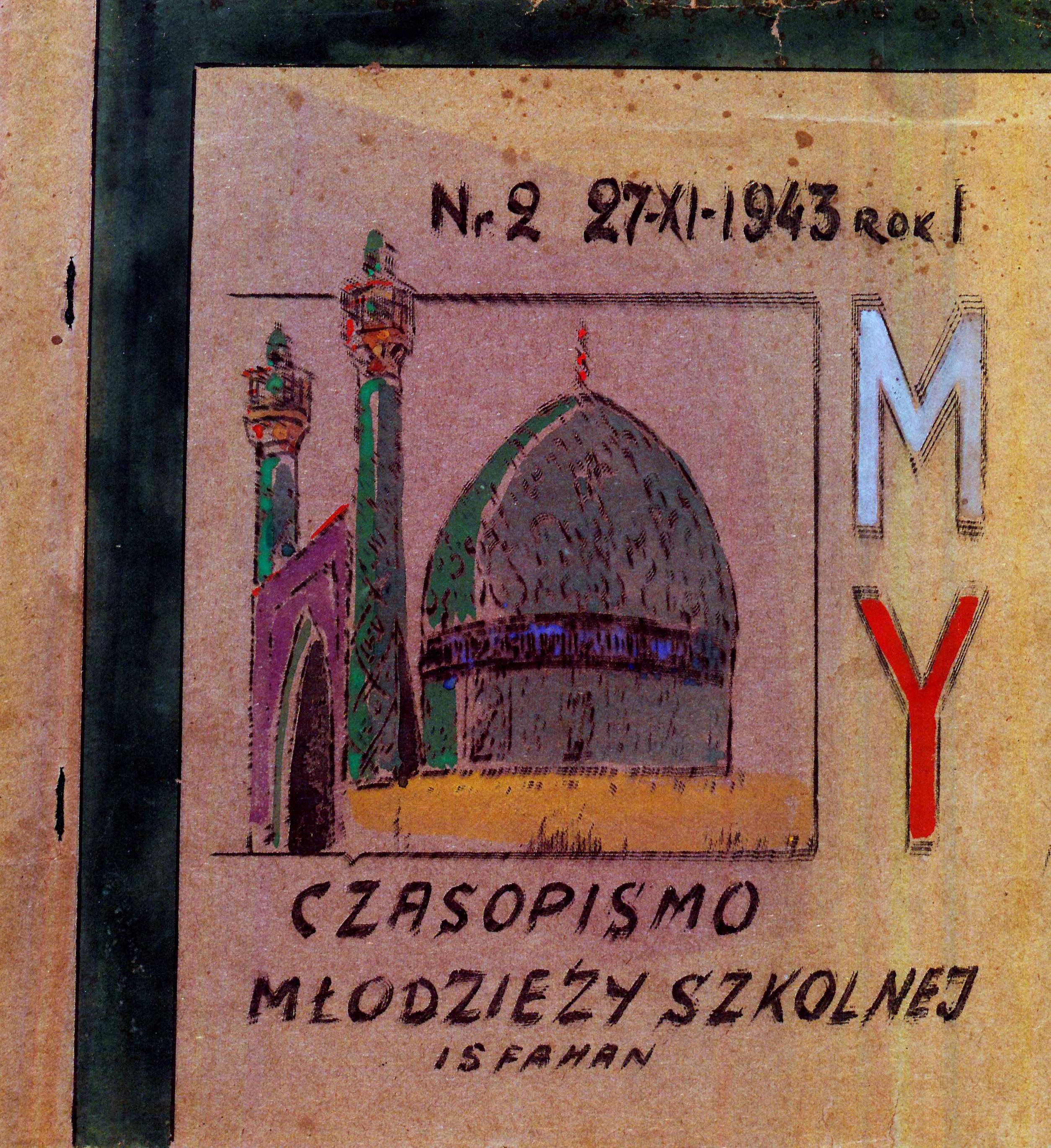 """<div class='inner-box'><div class='close-desc'></div><span class='opis'>""""My"""" - Czasopismo młodzieży szkolnej. Wydawane przez Delegaturę Urzędu Oświaty i Spraw Szkolnych - Inspektorat Szkolny w Isfahanie. Ukazywało się w latach 1943 -1946, najpierw w Isfahanie w Iraku, potem w Zuk Mikajil w Libanie. Zbiory czasopism AIL.</span><div class='clearfix'></div><span>Cote du document sm00443</span><div class='clearfix'></div><span>© Instytut Literacki</span></div>"""