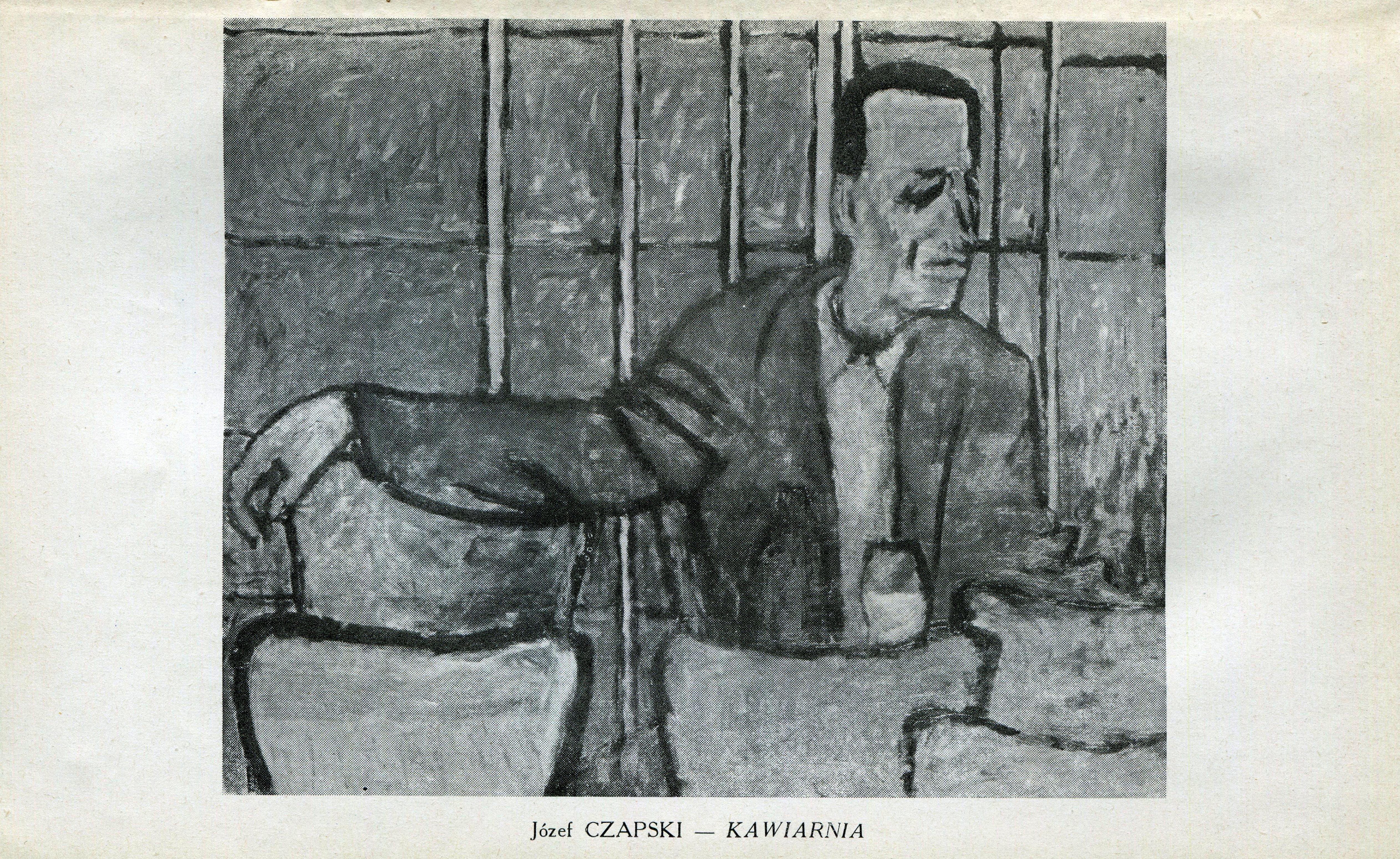 """<div class='inner-box'><div class='close-desc'></div><span class='opis'>Józef Czapski, obraz """"Kawiarnia"""" - """"Kultura"""" nr 12/134, 1958 r., wydrukowany pomiędzy stronami 144-145. Reprodukowanemu obrazowi towarzyszy informacja: """"Nagroda plastyczna. W bieżącym roku redakcja """"Kultury"""" zakupiła obraz Józefa Czapskiego pt. """"Kawiarnia"""" , którego reprodukcję zamieszczamy w tym numerze. Obraz przedstawia mężczyznę (szare żółcie) na tle matowych szyb (zgaszone niebieskie zielenie), wśród krzeseł z cynobru, czerwieni i brązów."""" (str. 143).</span><div class='clearfix'></div><span>Sygn. AB00066</span><div class='clearfix'></div><span>© Instytut Literacki</span></div>"""
