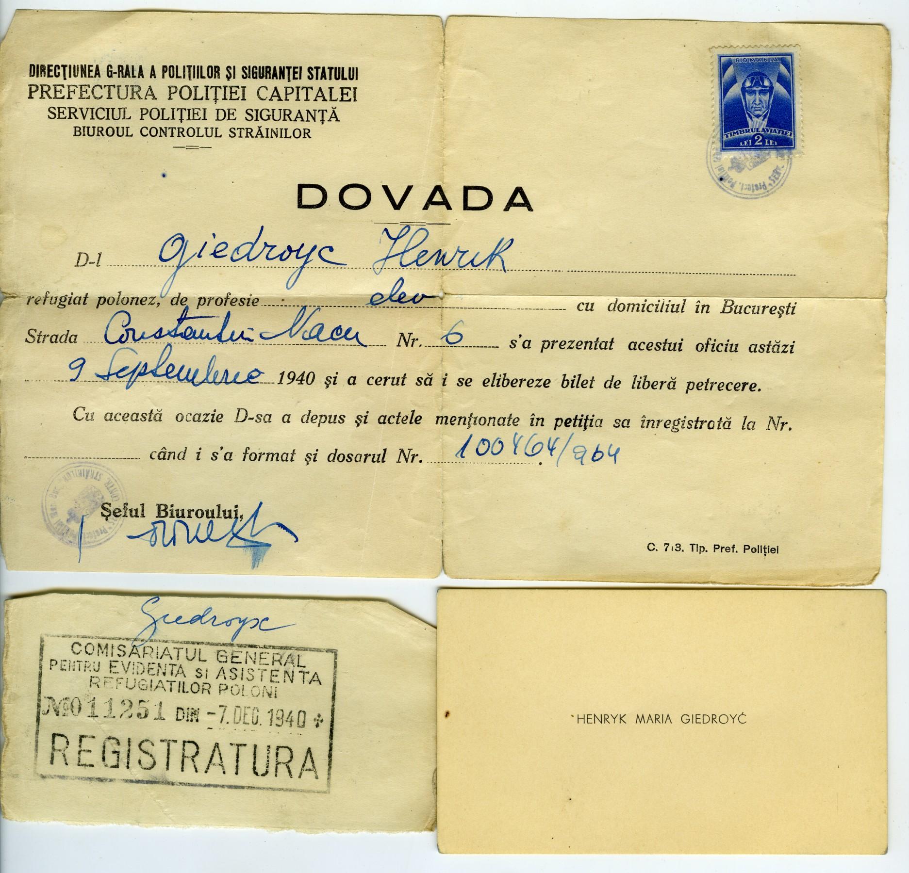 <div class='inner-box'><div class='close-desc'></div><span class='opis'>Zaświadczenie z prefektury w Bukareszcie, 1940 r.</span><div class='clearfix'></div><span>Sygn. AB00035</span><div class='clearfix'></div><span>&copy; Instytut Literacki</span></div>