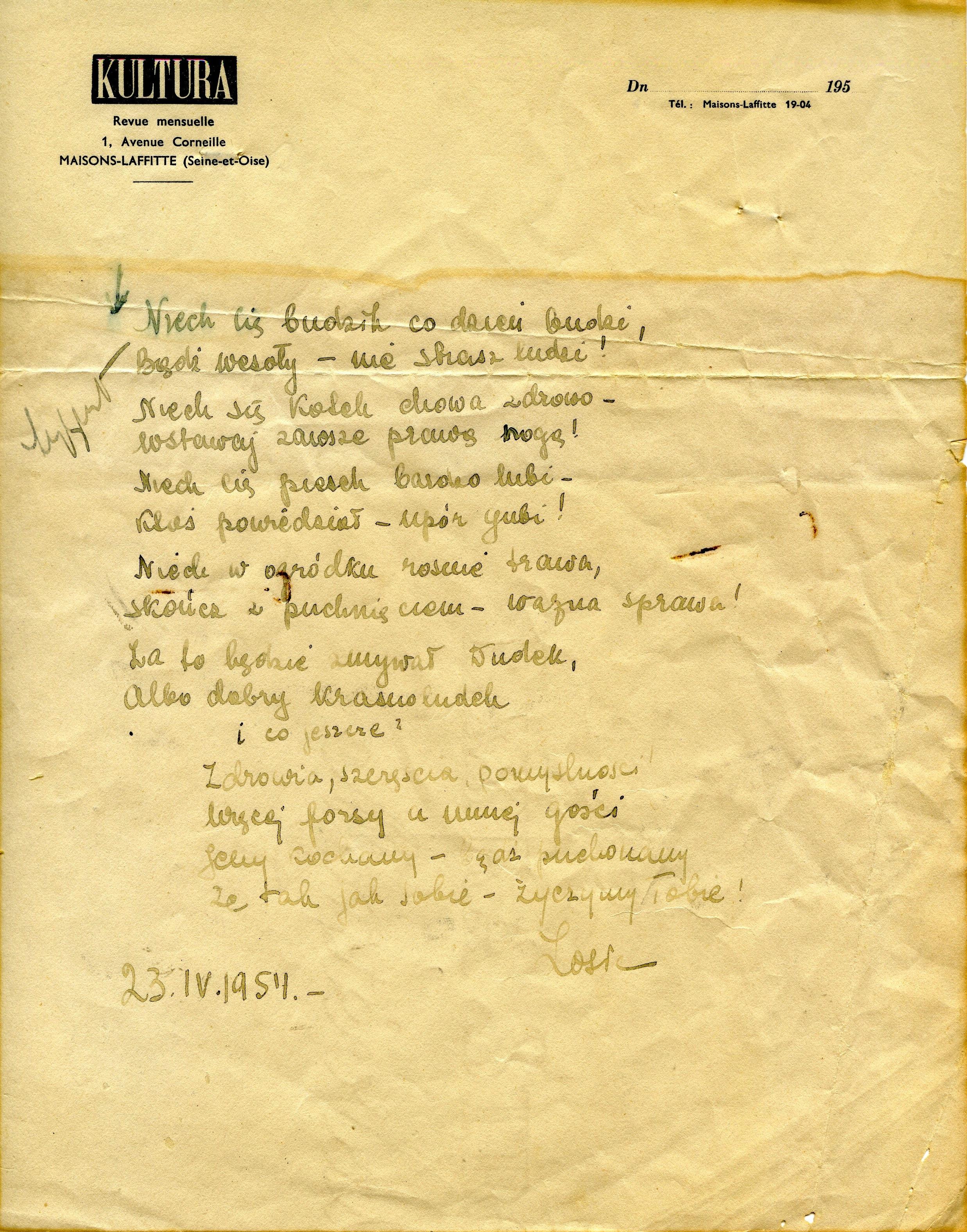<div class='inner-box'><div class='close-desc'></div>  <span class='opis'>Wierszyk imieninowy dla Jerzego podpisany: Zosia, 23 IV 1954.</span>   </div>